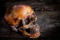 Menschlicher Schädel auf altem hölzernem Hintergrund, lizenzfreie stockfotos