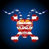 Menschlicher Schädel, 3D Illustration, amerikanische Flagge Lizenzfreie Abbildung