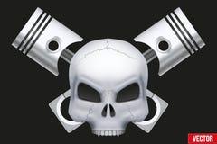 Menschlicher Schädel des kreativen Symbols des Vektors mit Maschine Lizenzfreie Stockbilder