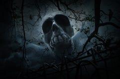 Menschlicher Schädel mit altem Zaun über totem Baum, Krähe, Mond und bewölktem Stockfotografie