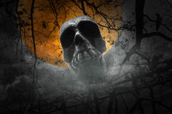 Menschlicher Schädel mit altem Zaun über totem Baum, Krähe, Mond und bewölktem Lizenzfreies Stockbild