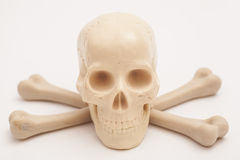 Menschlicher Schädel mit den gekreuzten Knochen Stockbilder