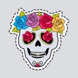 Menschlicher Schädel-und Blumen-Kranz Schneiden Sie es aus vektor abbildung