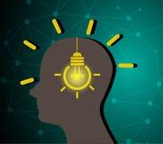 Menschlicher Schattenbild- und Birnenentwurf des kreativen Ideenkonzeptes lizenzfreie abbildung