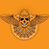 Menschlicher Schädel mit Flügeln Stockbild