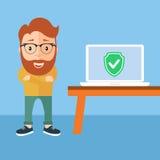 Menschlicher Vorlagenreparaturcomputer, flaches Design Lizenzfreies Stockfoto