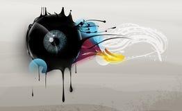 Menschliches Auge mit abstrakten Elementen Stockfotos