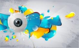 Menschliches Auge mit abstrakten Elementen Stockbilder