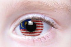 Menschliches Auge mit Staatsflagge von Malaysia lizenzfreies stockfoto