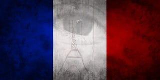 Menschliches Auge und Paris-Eiffelturm auf französischer Flagge färbt blaues weißes Rot vektor abbildung