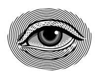 Menschliches Auge in Weinlese gravierter Art Stockfoto