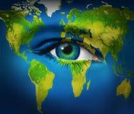 Menschliches Augen-Erde-Planet Stockfotos