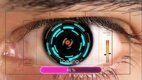 Menschliches Augen-Scan-Technologie-Schnittstellen-Animation Futuristische digitale Schnittstelle stock footage