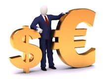 menschliches Bleiben 3d mit Dollar und Euro Lizenzfreie Stockbilder