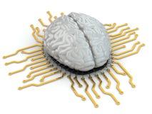 Menschliches Gehirn als Computer-Chip. Konzept von CPU. Lizenzfreie Stockfotos