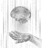 Menschliches Gehirn des androiden Griffs des Roboters Hand Niedriges Polypolygonales lizenzfreie abbildung