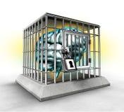 Menschliches Gehirn in einem Käfig Stockfotos