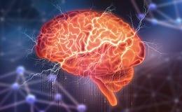 Menschliches Gehirn Elektrische Aktivit?t Schaffung der k?nstlichen Intelligenz lizenzfreie abbildung