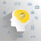 Menschliches Gehirn mit dem reisenden Denken Lizenzfreie Stockfotografie