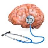 Menschliches Gehirn mit Stethoskop Diagnose und Behandlung von Gehirn c vektor abbildung