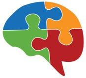 Menschliches Gehirn und Puzzlespiel Stockbild