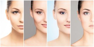 Menschliches Gesicht in einer Collage Junge und gesunde Frau in der plastischen Chirurgie, in der Medizin, im Badekurort und im F lizenzfreies stockbild
