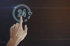 Menschliches Handpressen 24 Stunden Ikonen- Stockfoto