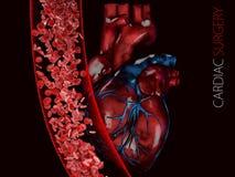 Menschliches Herz und Ader mit Blutzellen polygonale Grafiken 3d Illustration Stockfotografie