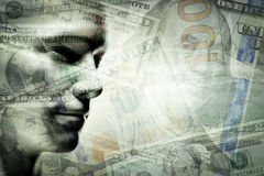 Menschliches Manngesicht und Dollar Doppelbelichtung Stockbild