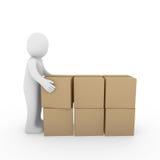 menschliches Paketverschiffen des Kartons 3d Lizenzfreie Stockfotografie