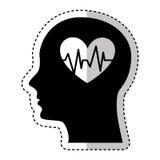 Menschliches Profil mit dem Herzen Herz Stockfotografie