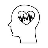 Menschliches Profil mit dem Herzen Herz Stockfoto
