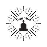 Menschliches Schattenbild der Meditation lokalisiert auf weißem Hintergrund Vektor Lizenzfreie Stockfotografie