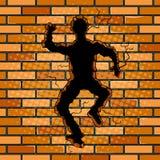 Menschliches Schattenbildloch im Backsteinmauerpop-arten-Vektor Stockbild