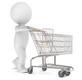 menschliches Zeichen 3d mit einer leeren Einkaufen-Laufkatze lizenzfreie abbildung