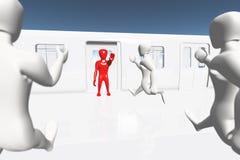 Menselijk Cijfer dat Einde toont dat op 3D Trein krijgt Stock Foto's