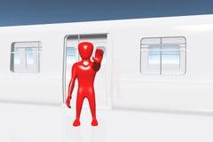 Menselijk Cijfer dat Einde toont dat op 3D Trein krijgt Royalty-vrije Stock Afbeeldingen