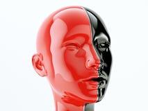 Menselijk die hoofd door lijn als symbool van saldo en diversiteit wordt gescheiden stock illustratie