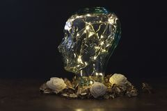 Menselijk die hoofd van glas met lichten binnen op donkere achtergrond wordt gemaakt royalty-vrije stock afbeeldingen