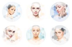 Menselijk gezicht in een collage Jonge en gezonde vrouw in plastische chirurgie, geneeskunde, kuuroord en gezichts het opheffen c stock fotografie