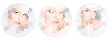 Menselijk gezicht in een collage Jonge en gezonde vrouw in plastische chirurgie, geneeskunde, kuuroord en gezichts het opheffen c royalty-vrije stock fotografie
