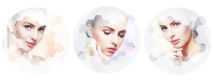 Menselijk gezicht in een collage Jonge en gezonde vrouw in plastische chirurgie, geneeskunde, kuuroord en gezichts het opheffen c stock foto