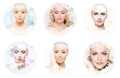 Menselijk gezicht in een collage Jonge en gezonde vrouw in plastische chirurgie, geneeskunde, kuuroord en gezichts het opheffen c stock foto's