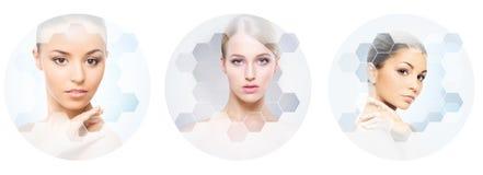Menselijk gezicht in een collage Jonge en gezonde vrouw in plastische chirurgie, geneeskunde, kuuroord en gezichts het opheffen c stock afbeeldingen