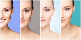 Menselijk gezicht in een collage Jonge en gezonde vrouw in plastische chirurgie, geneeskunde, kuuroord en gezichts het opheffen i royalty-vrije stock afbeeldingen