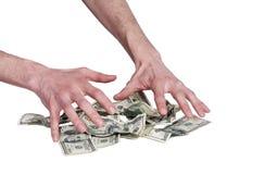 Menselijk handen en dollarsgeld Stock Afbeeldingen