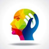 Menselijk hoofd die een nieuw idee denken Royalty-vrije Stock Afbeeldingen