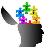 Menselijk hoofd met vraagtekenraadsels vector illustratie