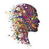 Menselijk hoofd op wit Abstracte vectorillustratie van gezicht met kleurrijke cirkels Royalty-vrije Stock Foto