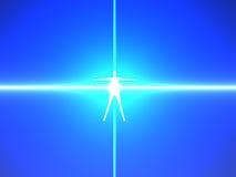 Menselijk lichaam in blauwe machtsstralen Royalty-vrije Stock Afbeelding